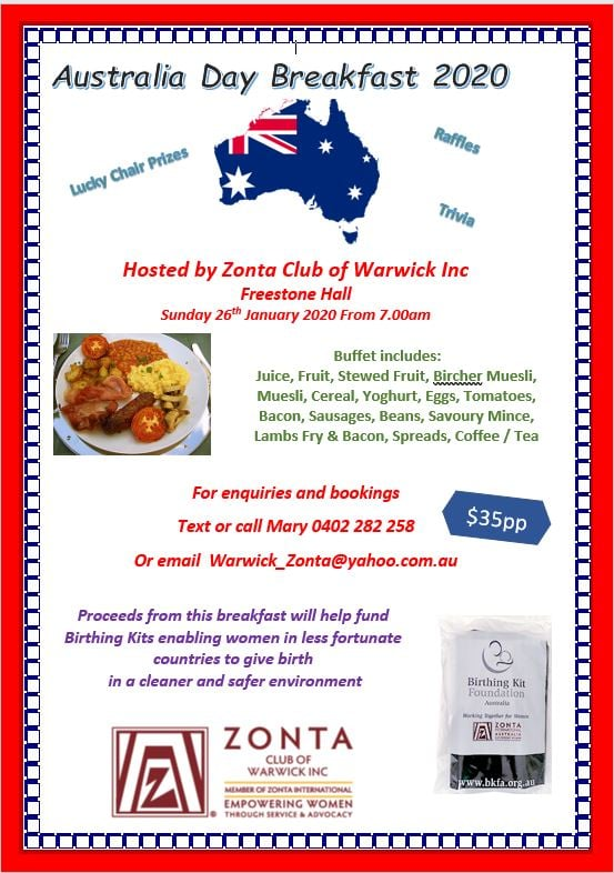 Australia Day Breakfast - Warwick @ Freestone Hall
