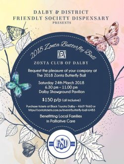 Zonta Butterfly Ball - Postponed @ Dalby Showground Pavilion | Dalby | Queensland | Australia