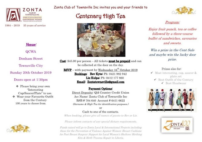 Centenary High Tea - Townsville @ QCWA | Townsville | Queensland | Australia