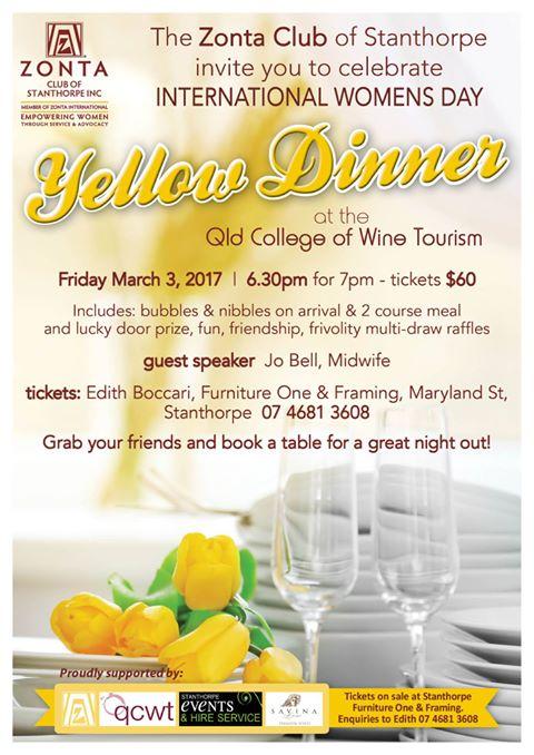 Zonta Club of Stanthorpe IWD/Yellow Dinner @ Queensland College of Wine & Tourism | Stanthorpe | Queensland | Australia