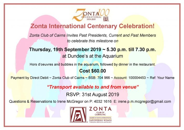 Zonta International Centenary Celebration Dinner - Cairns @ Dundee's at the Aquarium | Queensland | Australia