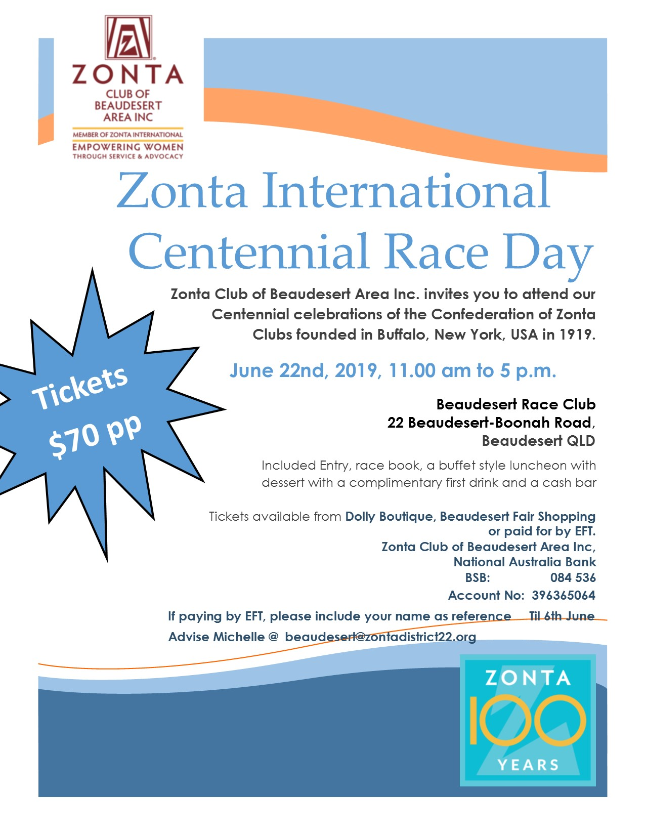 Zonta Club of Beaudesert Area Inc - Zonta International Centennial Race Day @ Beaudesert Race Club | Beaudesert | Queensland | Australia