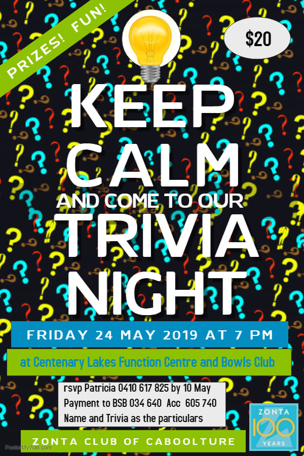 Trivia Night -Caboolture @ Centenary Lakes Function Centre & Bowls Club