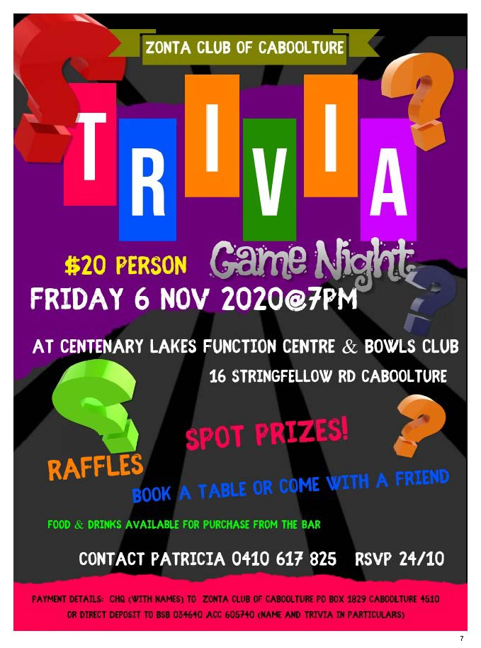 Trivia Night - Caboolture @ Centenary Lakes Function Centre & Bowls Club