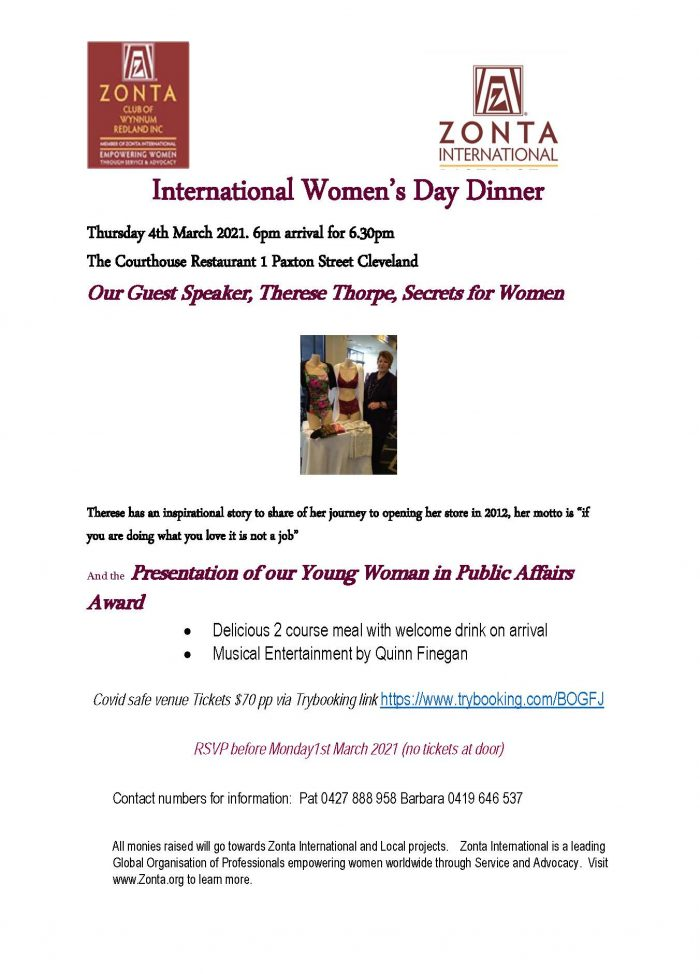 IWD 2021 Gala Dinner - Zonta Wynnum Redland @ The Old Courthouse Restaurant Cleveland